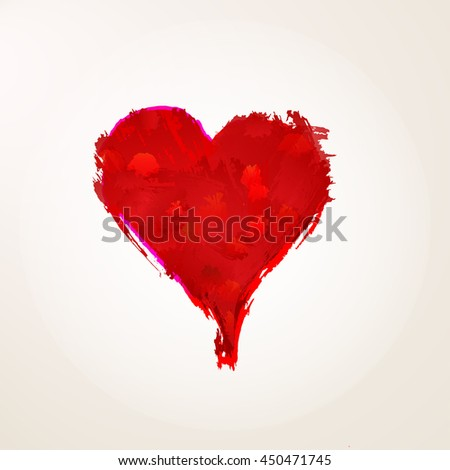 Red watercolor heart. Valentines day sign - stock vector