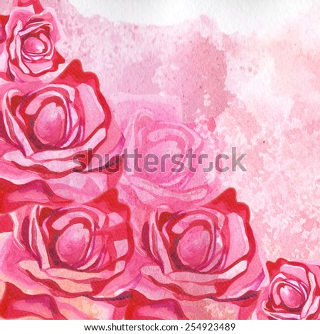 red watercolor roses