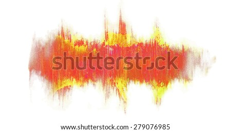 red waveform with painted texture. Design element for message - stock vector