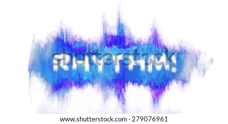 red waveform with painted texture. Design element for message - rhythm lettering - stock vector