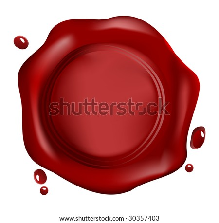 Red wax seal, vector