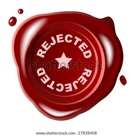 Red wax seal with rejected stamped across it - vector - stock vector