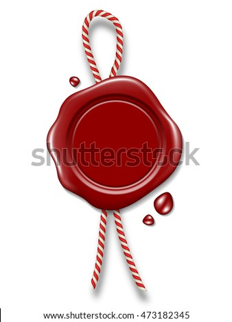 Red wax seal with rope isolated on white