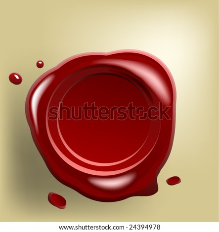 Red wax seal with small drop on old paper (vector) - stock vector