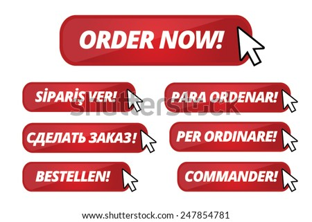 Red Web Buttons for Order Now Buttons different languages - stock vector