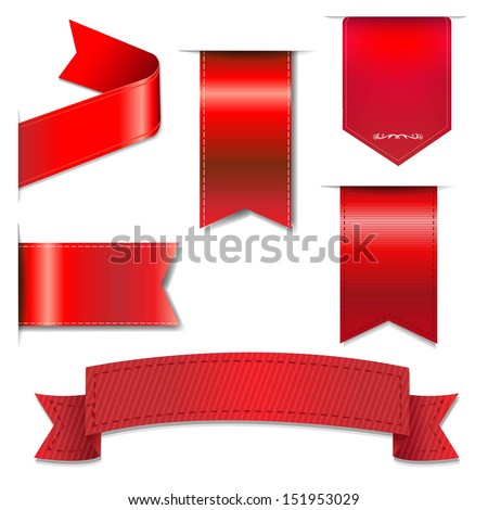 Red Web Ribbons Set With Gradient Mesh, Vector Illustration - stock vector