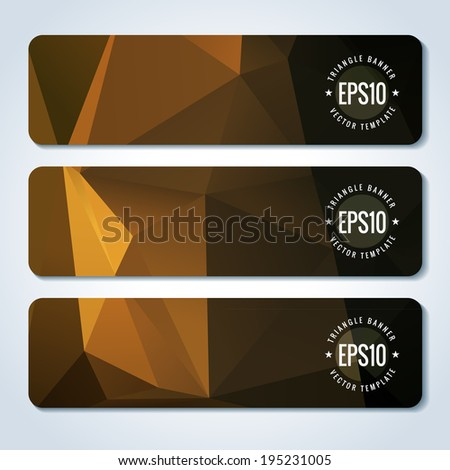 Red website header or banner set with triangle pattern - stock vector