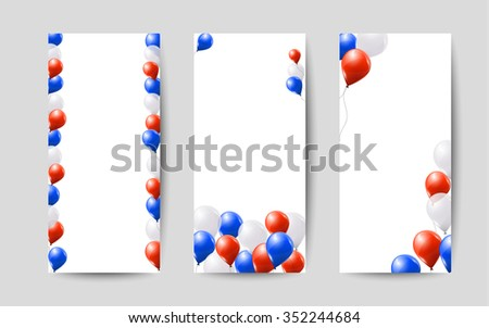 Red White Blue Balloons On White Stock Photo Photo Vector