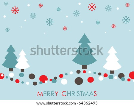 red white and blue christmas card with trees and snowflakes - stock vector