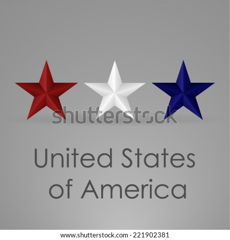 Red white and blue 3D star - stock vector