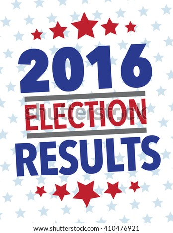 Red, white and blue election results poster