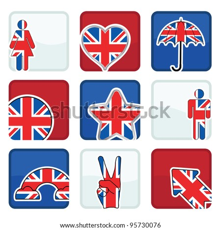 red, white and blue icons with great britain motifs, with clipping masks - stock vector