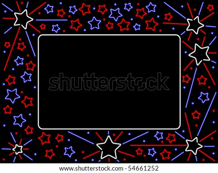 Red white and blue neon stars form a patriotic border