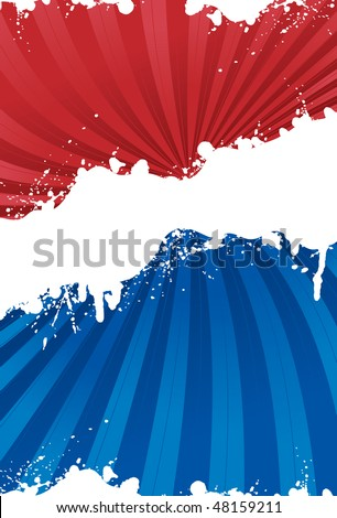 Red, white and blue patriotic background with grunge line - stock vector