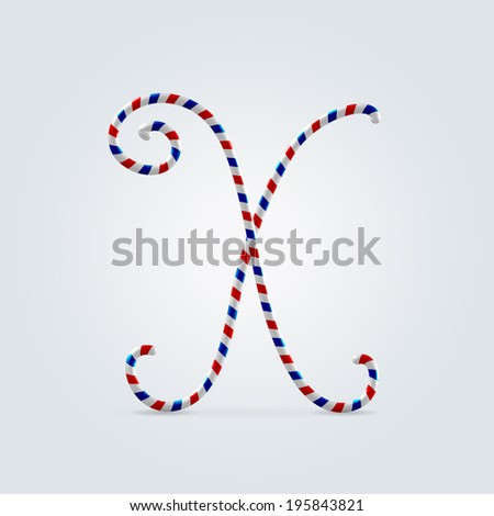 Red white and blue striped font abc capital letter X - stock vector