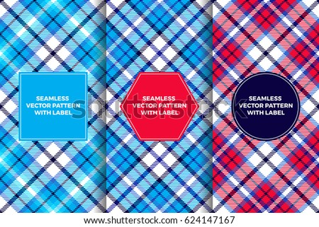 Red White Blue And Navy Tartan Seamless Patterns With Label Frames Patriotic Colors