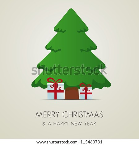 red white gift boxes tree merry christmas - stock vector