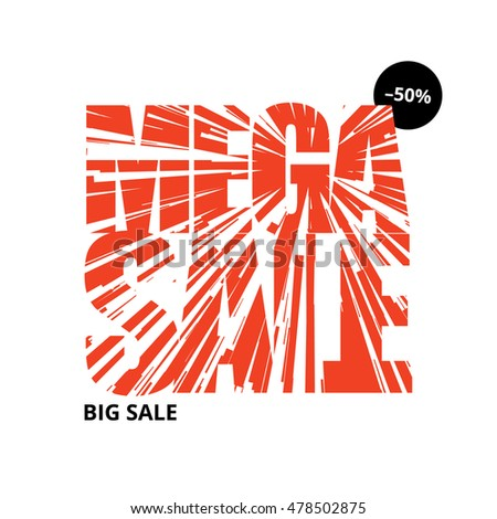 Red white sale banner template design. Vector illustration.