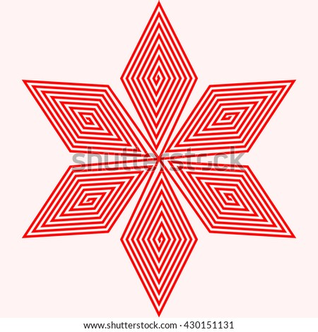 Red white stylized star on white background. Red striped flower abstract wallpaper. Symmetric geometric snowflake ornament. Vector illustration - stock vector