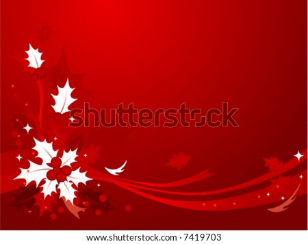 Red & white themed Christmas background of holly and ribbons. See Image #7419712 for Hi-res JPG version. - stock vector