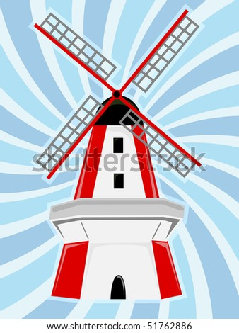Red White Windmill Blue Swirl Background