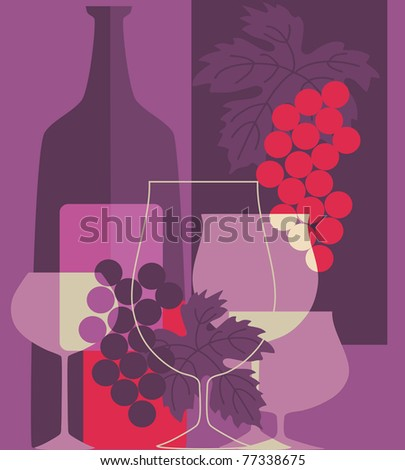 Red wine and grapes in retro style