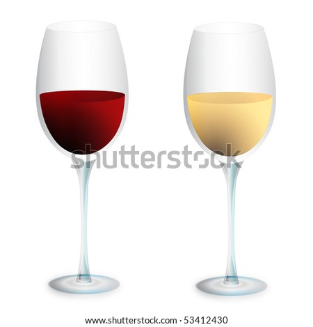 Red wine and white wine glasses - stock vector