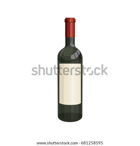 Red wine bottle. Vector illustration on white background