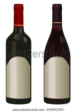 Red Wine bottles isolated in white with empty label, vector