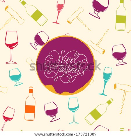 Red wine drops over text paper background. Vector Illustration. - stock vector