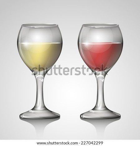 red wine glass and white wine glass on white background - stock vector