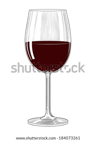 Red wine glass in vintage engraving style - stock vector