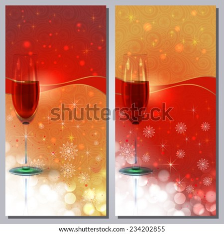 Red Wine Greeting Card - stock vector