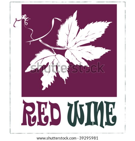 Red wine label, easy to edit vector - stock vector