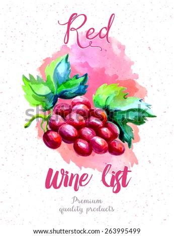 Red wine list, watercolor art - stock vector