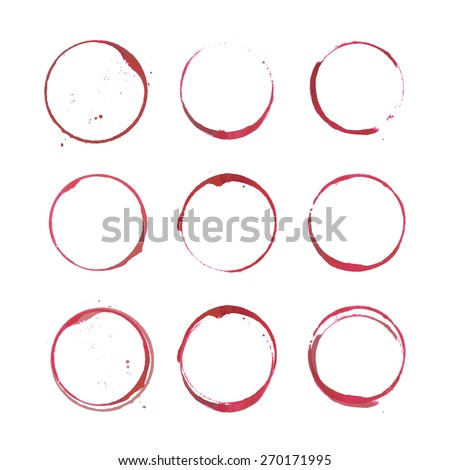 Red wine stains and spots. Vector set of isolated wine stain circles. Wine bottom glass ring stains for badge design. Watercolor hand drawn glass marks of wine stain on white. Red wine stains on paper
