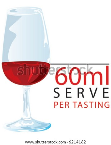 Red Wine Tasting - 60ml Serve - stock vector