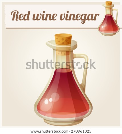 Red wine vinegar. Detailed Vector Icon. Series of food and drink and ingredients for cooking. - stock vector