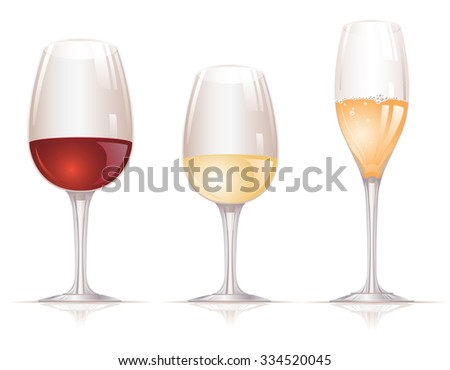 Red wine, white wine and flute glasses filled with alcoholic drinks and arranged in the row on white background.
