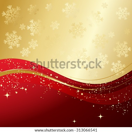 Red winter abstract background. Christmas background with snowflakes. Vector. - stock vector