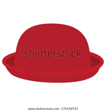 Red woman bowler hat. Derby hat. Fashion, glamour winter hat