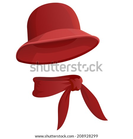 Red woman's hat with scarf isolated on white background. Vector illustration.