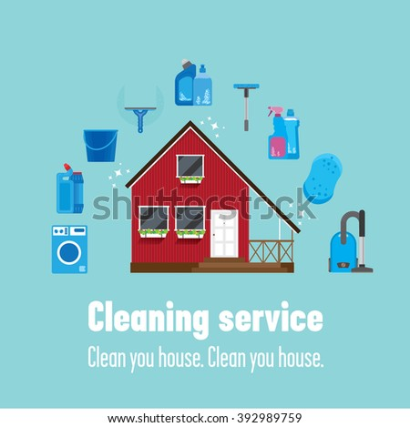 Red wooden house and some instruments to clean it: mop, vacuum cleaner, washing machine, cleanser, bucket. A good way to clean your house completely is to call to cleaning service, they can help you.  - stock vector