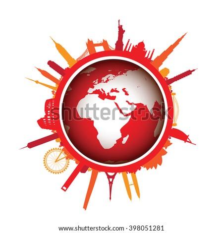 red world landscape cityscape - stock vector