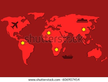 Red world map bomber tank warship vectores en stock 606907454 red world map with bomber tank warship and fire symbols war game gumiabroncs Image collections