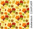 Red, yellow and green autumn leaves. Background, seamless. - stock vector