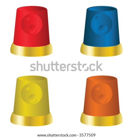 Red, yellow, blue and orange beacons - stock vector