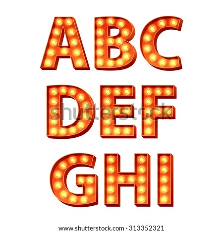 Red yellow orange bulbs lamps light glowing retro letters set. Abc alphabet text symbols vector illustration.