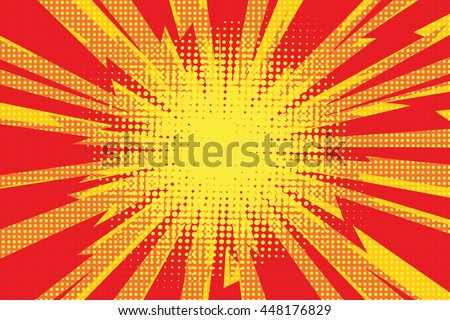 Red yellow pop art retro background cartoon lightning blast radiance vector illustration - stock vector