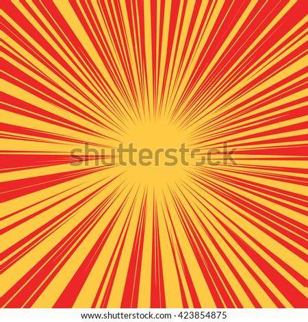 Red yellow retro rays vector background - stock vector